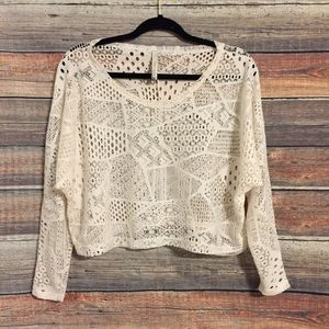 Paper crane cream crochet crop top